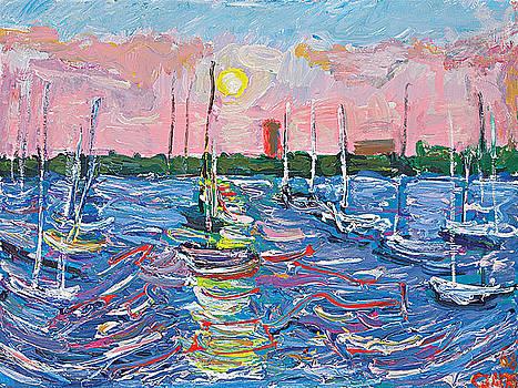 Pink sunset sailboats by Patrick Ginter