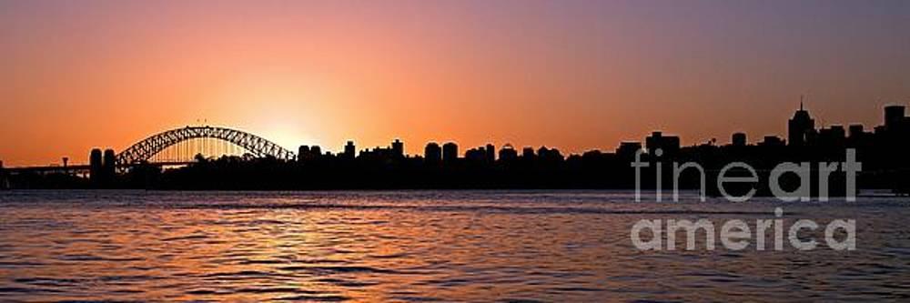 Pink Sunset Sydney Skyline.  Original photo Art  by Geoff Childs