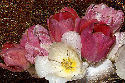 Pink Tulips And Gold Leaf Look by Phyllis Denton