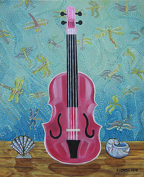 Pink Violin with Fireflies and Shells Still Life by John Keaton