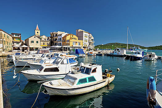 Pirovac boats and harbor view by Dalibor Brlek