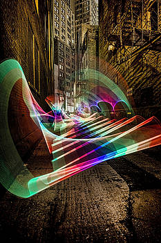 Pixel Stick light painting in Chicago Alley by Sven Brogren