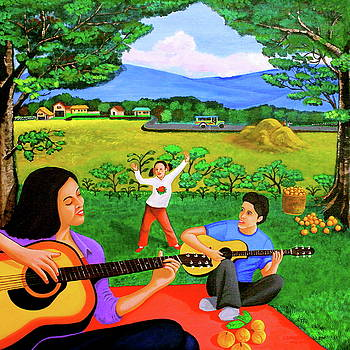 Playing Melodies Under the Shade of Trees by Lorna Maza