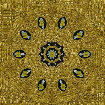 Plumerias in golden environment by Pepita Selles