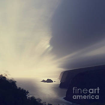 Pololu Valley Moonrise - Hipster Photo Square by Charmian Vistaunet