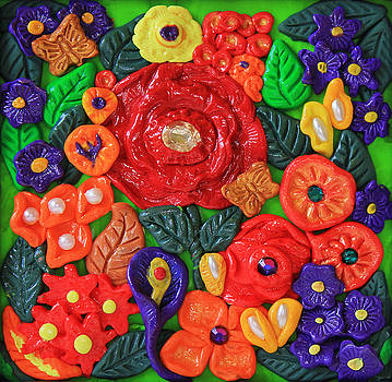 Polymer Clay Flowers Wall Art by Donna Haggerty