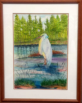 Pond and Egret Framed by Richard Benson