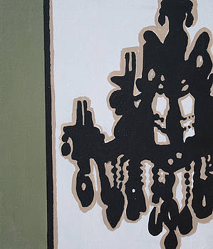 Pop Art Chandelier Paintings-Black and Green by Mikayla Ziegler