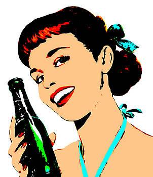 Pop Art Girl With Soda Bottle by Joy McKenzie