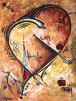PoP of Love Heart Painting Gold Metallic Red Unique Style Wild at Heart by MADART by Megan Duncanson