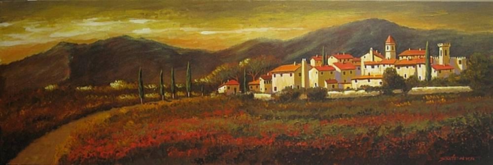Poppy field at dusk by Santo De Vita