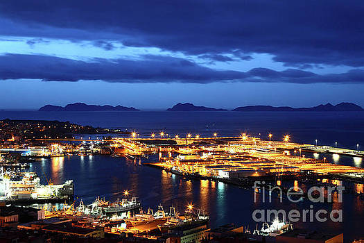 Port of Vigo at Twilight Galicia Spain by James Brunker