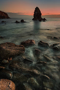 Porth Saint Beach at Dusk. by Andy Astbury