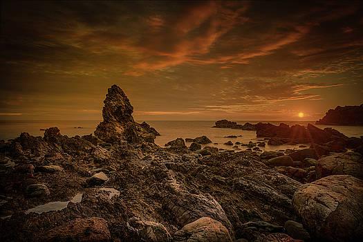 Porth Saint Beach at Sunset. by Andy Astbury