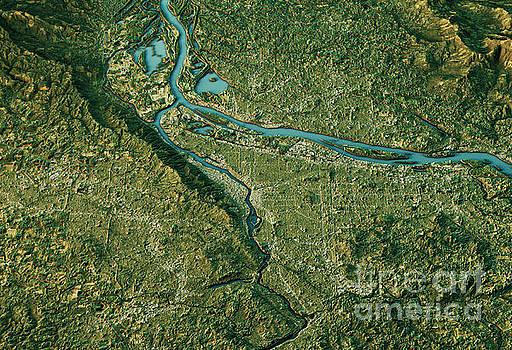 Portland 3D Landscape View South-North Natural Color by Frank Ramspott