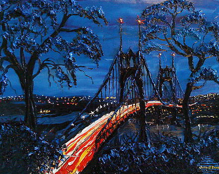 Portland City Light Over St. Johns bridge 3 by Portland Art Creations