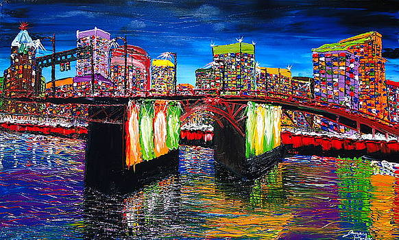 Portland City Lights Over Morrison Bridge 3 by Portland Art Creations