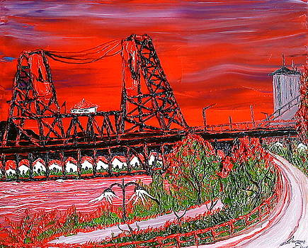 Portland City Lights Over The Steel Bridge 4 by Portland Art Creations
