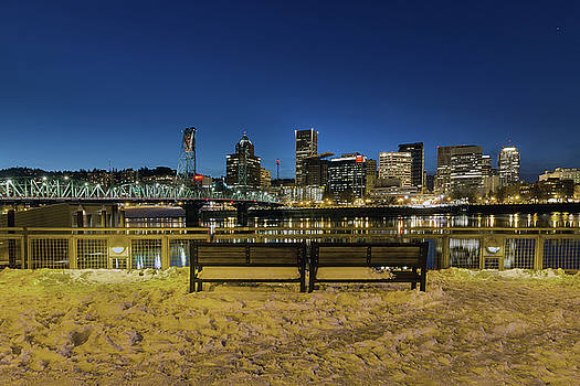 Portland Skyline View from Eastbank Esplanade by Jit Lim