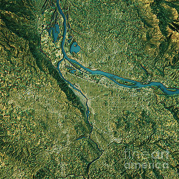 Portland Topographic Map Natural Color Top View by Frank Ramspott