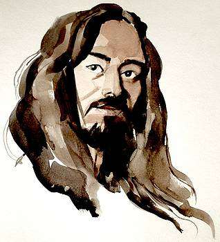 Watercolor Portrait of a Man with Long Hair by Greta Corens