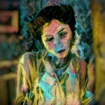 Portrait colorful female wistfully thoughtful pastel by MendyZ
