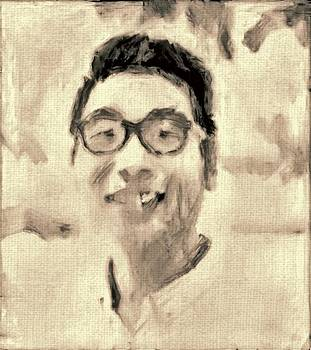 Portrait in brown Sepia on canvas in oil just the underpainting by MendyZ