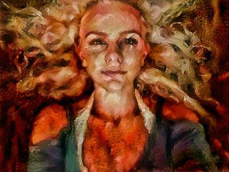 Portrait of female with hair billowing everywhere in radiant unsmiling sharp features golden warm colors and upturned nose curls and aliens of the departure by MendyZ