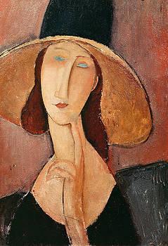 Amedeo Modigliani - Portrait of Jeanne Hebuterne in a large hat