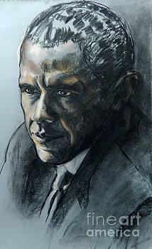 Charcoal Portrait of President Obama by Greta Corens
