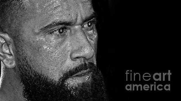 Portrait of Pro Wrestler Will Cuevas black and white version II by Jim Fitzpatrick