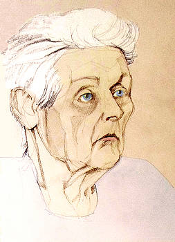 Pastel Colored Portrait of an Old Lady by Greta Corens