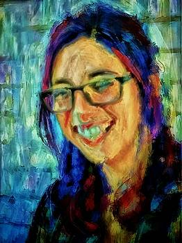 Portrait painting in acrylic paint of a Young Fresh Girl with colorful hair in a library with books  by MendyZ
