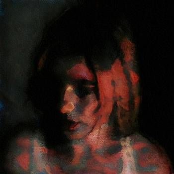 Portrait painting of girl in red gray black with wistful thoughts of fleeting memories by MendyZ