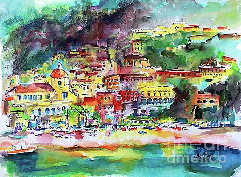 Ginette Callaway - Amalfi Coast Positano Summer Fun Watercolor Painting