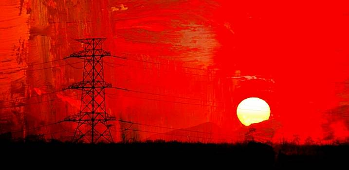 Power lines at sunrise... by Werner Lehmann