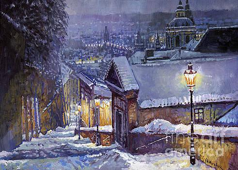 Prague Castle Steps Winter   by Yuriy Shevchuk