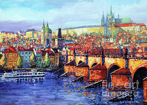 Prague Panorama Charles Bridge 07 by Yuriy Shevchuk