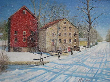 Prallsville Mill in the Snow by Oz Freedgood