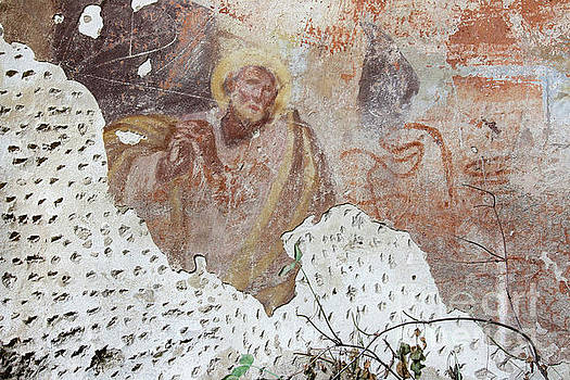 Praying saint - old mural painting by Michal Boubin