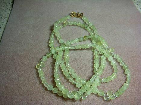 Prehnite Long Strand Necklace by Antoinette DAndria Rumely