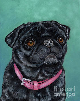 Michelle Wrighton - Pretty in Pink - Pug Dog painting by Michelle Wrighton