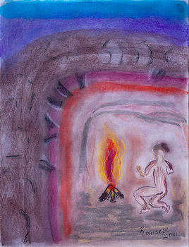 Primitive Man Fireside by Robyn Louisell