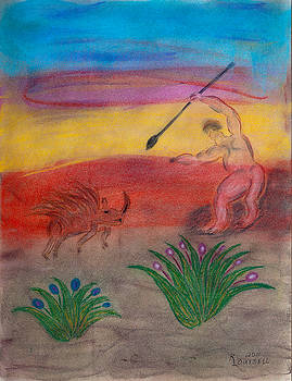 Primitive Man Hunting by Robyn Louisell