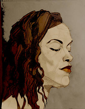 Portrait Drawing of a Redhead in Profile by Greta Corens