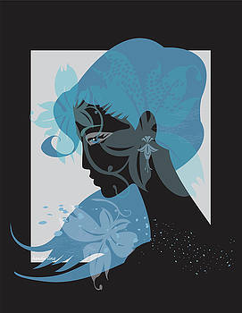 Profile In Black with blue flowers by Lisa Henderling