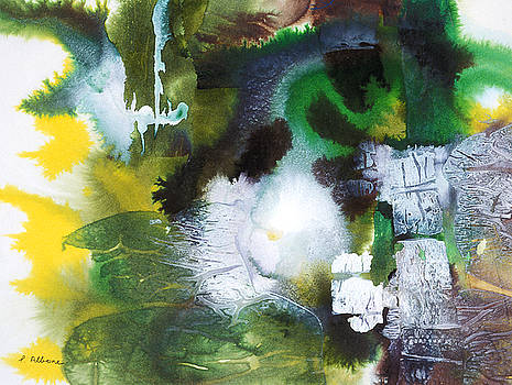 PROGRESSION an interesting abstract painting in green yellow and white by Phil Albone