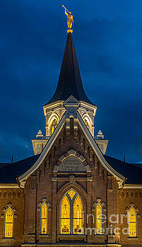 Provo City Center Temple Close-up at Night 2 - Utah by Gary Whitton