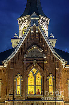 Provo City Center Temple Close-up at Night - Utah by Gary Whitton