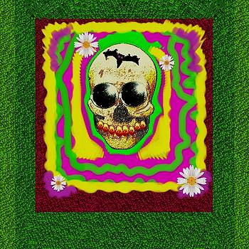 Psycadelic Groovy Sugar Skull Smiling With Gold Teeth With Flowers And A Bat by Pepita Selles